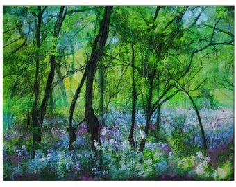 Wild flowers,16x20 inches, Wild spring Phlox, green trees, art, spring flowers, green art, blue flowers, nature art, Gina Signore