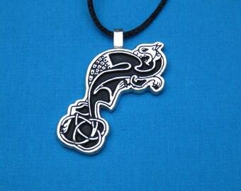 Celtic Griffin Silver Pewter Pendant Handmade, Handcast STK040