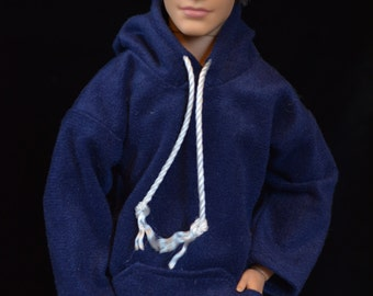 Royal Blue Suede Fashion Doll and Action Figure Hoodie