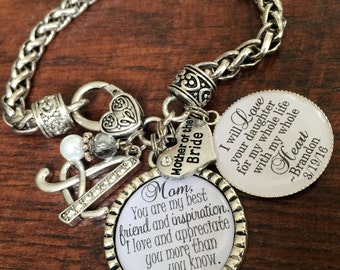 Mother of the BRIDE gift, Mother of the GROOM gift, PERSONALIZED jewelry, my best friend and inspiration, mother in law wedding keepsake