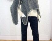 Upcycled Shawl/Poncho/Bohemian Wrap/Grey Wool/One Size/brenda abdullah