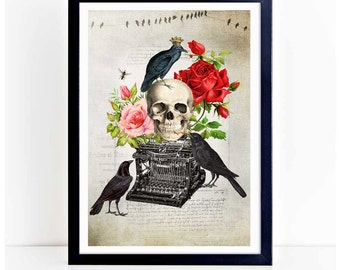 Murder of crows, Halloween print, a skull with crows on a vintage typewriter print, A4 giclee