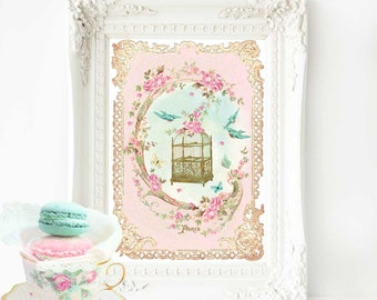 Bird cage print, pink nursery decor, nursery print, vintage bird cage, pink, gold, nursery decor, baby girl nursery, bird, vintage decor