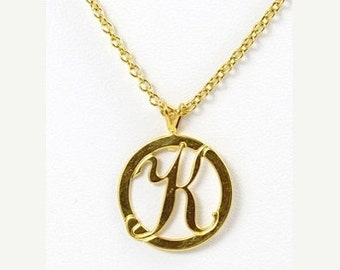 K  Initial Necklace, Initial Necklace, K Necklace