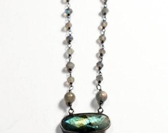Labradorite Necklace, Oval Gemstone Beaded Necklace, Elegant Oxidized Sterling Silver Jewelry