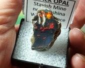 Bronco Orange BLACK OPAL 5.7 Gram Rare Natural Rainbow Flash Desert Black Opal Gemstone In Perky Mineral Specimen Box From Ethiopia Sale