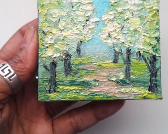 "Mini Oil Painting Landscape Trees Bradford Pear Impasto 3""x 3"" READY to SHIP"