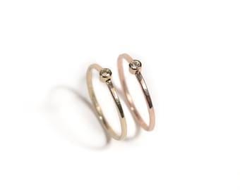 14k Rose Shining Goddess | 14k Rose Gold and Diamond Ring