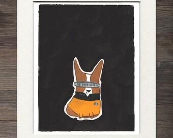 Corgi, Lt. LeCorg, Star Trek Matted Art Print
