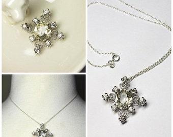 ON SALE VINTAGE Silver & Rhinestone Filigree Pendant Necklace, Pendant Brooch Combo, 925 Italy Chain, Wedding, Bridal, Versatile! #A252B