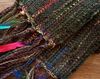 handwoven autumn olive scarf