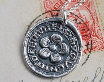 medieval flower wax seal necklace ... hope and joy - fine silver medieval wax seal jewelry