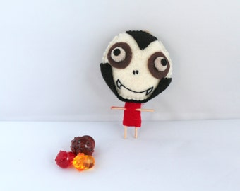 Halloween Felt Art Doll Vampire Bones Boy in Dark Shadows Suit Halloween Decoration, Felt Ornaments