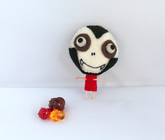Halloween Felt Art Doll Vampire Bones Boy in Dark Shadows Suit Halloween Decoration