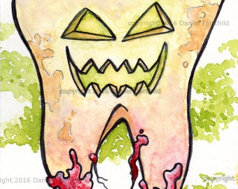 Tooth-O-Lantern - Mini Watercolor