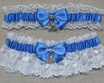 Royal Blue and White US Navy Wedding Garter Set - Lace - Keepsake and Toss - Hero - Military - I love my soldier