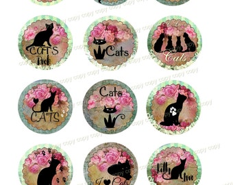 INSTANT DOWNLOAD - 2 Inch Circles  - CATS -  Printable Digital Collage Sheet - Digital Download