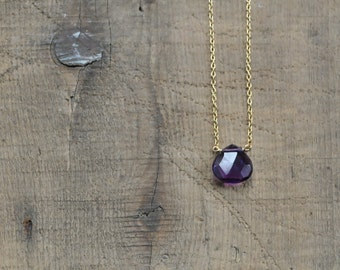 Single Amethyst Briolette on 14k Solid Gold Chain