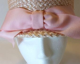 Vintage Blush Pink Straw Ladies Bowler Style Hat
