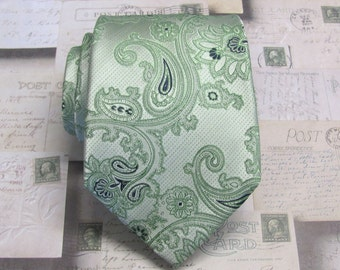 Green Paisley Mens Ties. Wedding Ties Mens Neckties With Matching Pocket Square Option