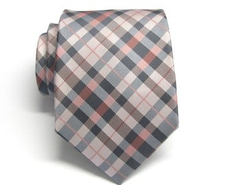 Mens Ties. Necktie Coral Pastel Peach Blue Gray Checkers Mens Tie With Matching Pocket Square Option