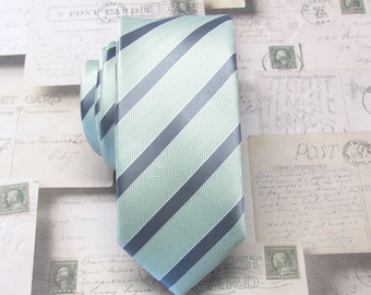 Mens Ties Skinny Tie. Petal Mint Green Gray Stripes Skinny Necktie