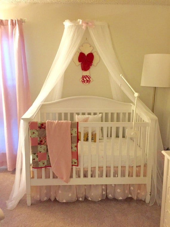 Princess bed canopy crown with free white sheer by for Nursery crown canopy