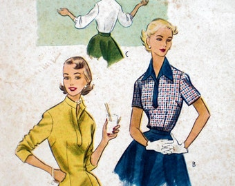 Vintage 1950s Blouse Pattern McCall's 9079 Wing Collar or Mandarin Collar Bust 32 Rockabilly Blouse