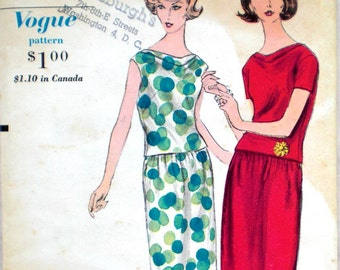 Vintage 1960s Blouse & Skirt Pattern Vogue 5762 Two Piece Dress Pattern Bust 34 Cowl Neck