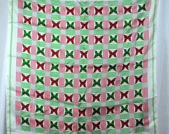 Vintage Echo Butterfly Scarf Red Green Black