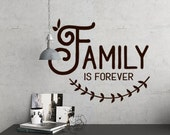 Family is Forever vinyl wall decal living room decor, Family quotes, farmhouse style, Rustic Decal Wall decor, Wall Decals Living Room