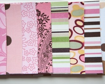 Pink and Brown Variety Pack - Fabric Note Cards  // Thank You Cards // Stationery // For All Occasions // Post Cards