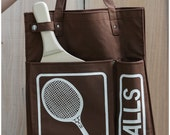 Deadstock Vintage 70's Brown and White Heavy Canvas Raquetball Tote by Glo-Belle
