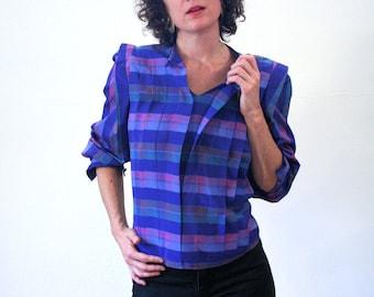 Catrina Glen, 80s Blue Purple Plaid Blouse, Pleated Blouse S Petite, 80s Blouse, 1980s Plaid Pullover, Secretary Blouse, 80s Boxy Blouse