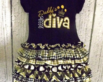 Daddy's Litte Diva, Princess, Black, Gold, Chevron, Fancy, Tulle, Ruffled T-Shirt Dress
