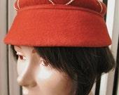 Peach Bloom   Vintage 1960s Rust Fur Velour Hat Shorter Bucket Shape with Pearl-like Beads - Merrimac