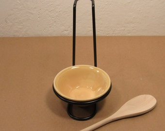 Spoon Stand with small bowl spoon rest - kitchen tool - kitchen stovetop decor - handmade pottery