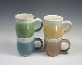Set of 4 Pottery Mugs - Ceramic Coffee or Tea Mugs - Green Yellow Blue Brown Mugs - Handmade Pottery
