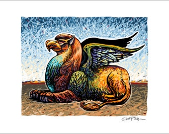 "The Griffin- 11"" x 14"" Mythological Beast Wall Decor"