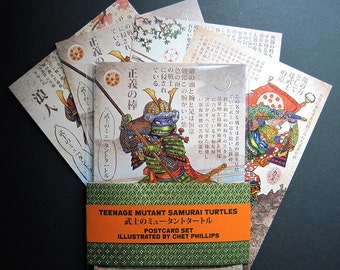 "Teenage Mutant Samurai Turtles Postcard Set- Four 5"" x 7"" Postcards"