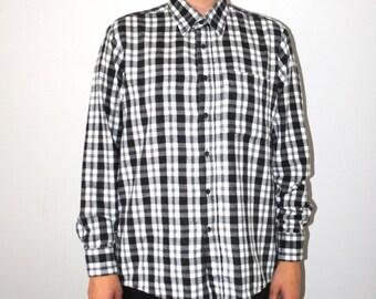 black + white plaid flannel shirt 90s grunge button up plaid oxford shirt medium