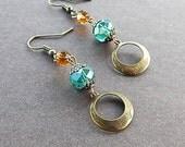 Crystal Artisan Vintage Bronze Gypsy Hoop Earrings Deep Green & Golden Color