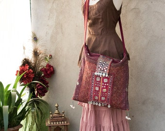 BOHEMIAN GYPSY BAG - Hand Purse Shoulder Clutch Hippie Boho Shabby Chic Vintage Recycle Upcycle India Patchwork - Red Pink Purple Brown - 6