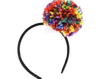 Multi Colored Pom Pom Headband, Girls or Women's  Headpiece, Photo Prop, Clown Costume, Halloween Costume, Vintage Circus, Hair Accessory