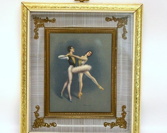 Vintage D'Amerio Ballet Print in White & Gold Shadowbox Frame