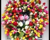 Tulip Wreath, Spring Wreath, Summer Wreath, Door Wreath, Wreath for Door, Front Door Wreath, Wreaths, Home Decor, Door Decorations