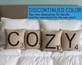 COZY Scrabble Pillows - CASES ONLY // Scrabble Tile Pillows // Letter Pillow Cushions