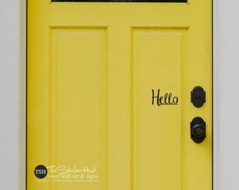 hello Front Door - Decals for Your Front Door - Entryway Decor - Front Porch Decor - Vinyl Wall Art Graphic Stickers Decals 1902