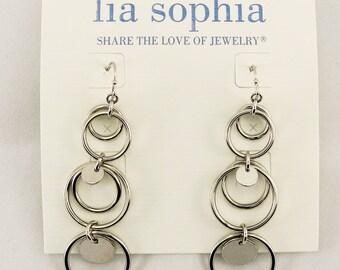 Lia Sophia Reflection Silver Tone Disc Earrings