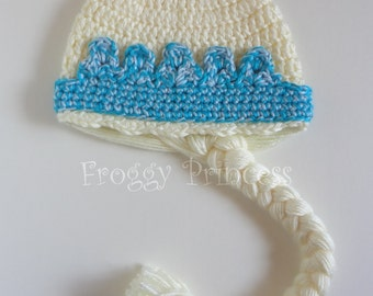 Ice Queen Hat - Toddler Size Hand Crocheted Princess Hat With Braid